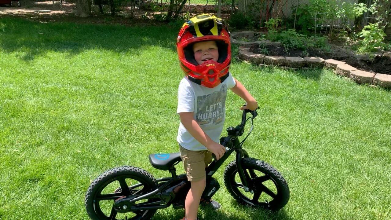 Maddox first time with Stacyc bike
